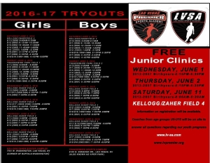 Las Vegas Sports Academy Holding Try-Outs & Clinics for the 2016/17 Season
