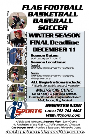 i9 Sports Now Registering for the Winter 2015 Season