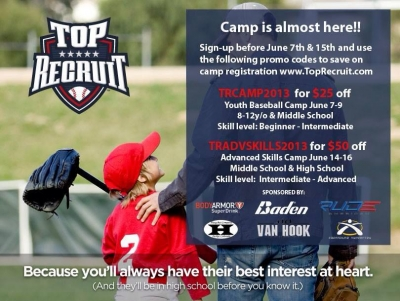 Top Recruit Summer Youth Baseball Camps - Discount Promo Codes