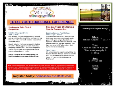 Free Total Youth Baseball Experience to Benefit Local Youth