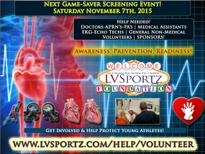 LV Sportz Foundation Seeking Volunteers & Sponsors for November 2015 Game Saver Screening Event