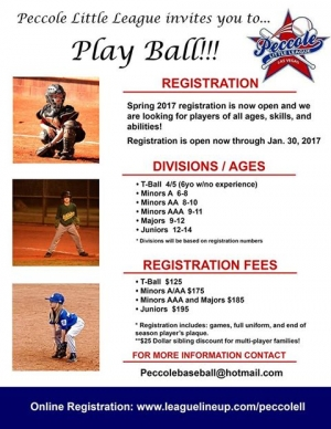 Peccole Little League Registering for Spring 2017