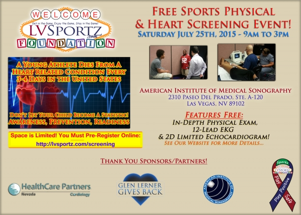 LV Sportz Foundation Holding Game-Saver Event Featuring Free Sports Physicals, Youth Athlete Heart Screens & CPR-AED Certifications July 25th, 2015
