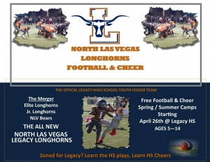 North Las Vegas Legacy Longhorns Football & Cheer Looking for Players, Cheerleaders and Coaches