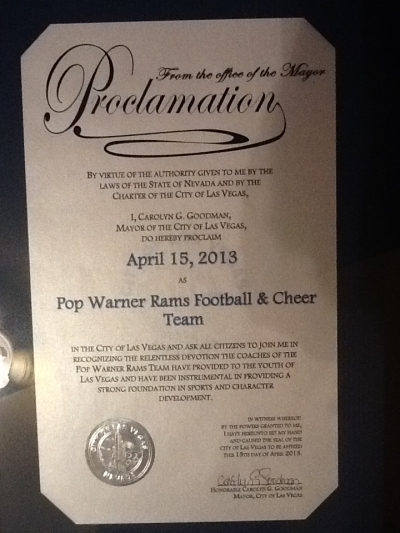 April 15th Proclaimed by Mayor Goodman as Pop Warner Rams Football & Cheer Day