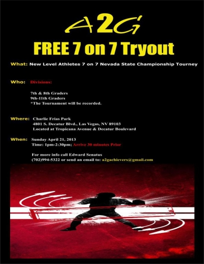 Free Tryouts for New Level 7on7 Nevada State Championship Football Tourney